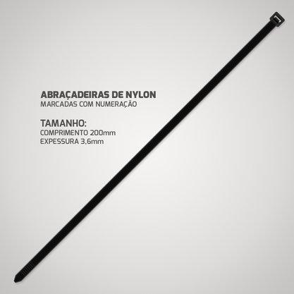 Abraçadeira de Nylon 3,6mm 200mm Preta (Pacote com 100 Unidades)