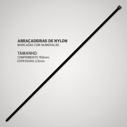 Abracadeira de Nylon Preta 2,5mm 150mm (100 unidades)