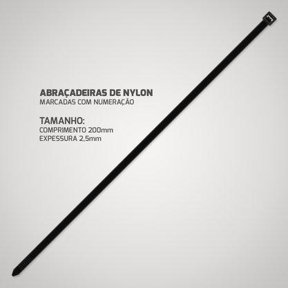 Abracadeira de Nylon Preta 2,5mm 200mm (Pacote com 100 unidades)