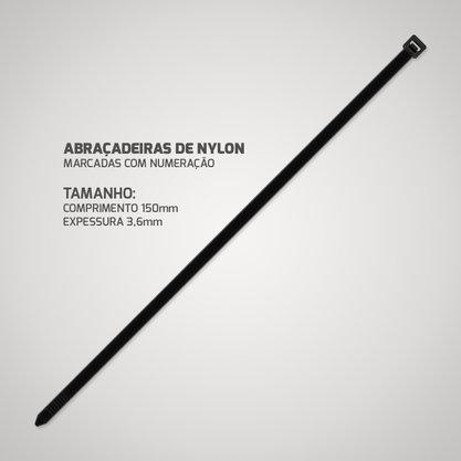 Abraçadeira de Nylon Preta 3,6mm 150mm (Pacote com 100 unidades)