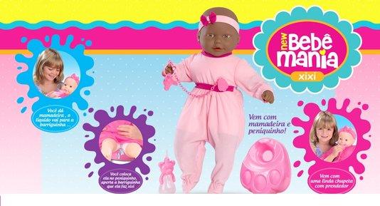 Boneca New Bebe Mania Xixi Negra