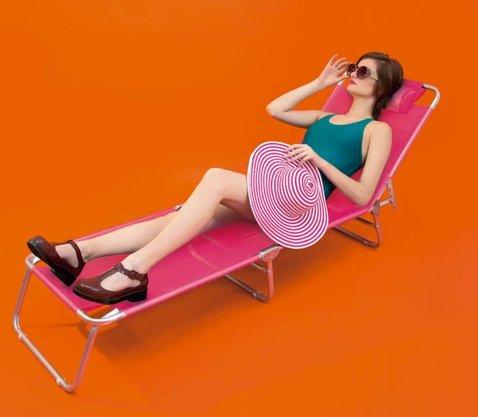 Cadeira Espreguiçadeira Alumínio Rosa