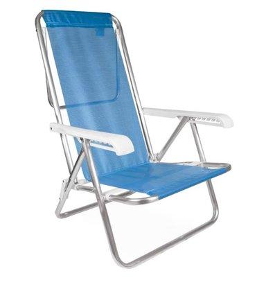 Cadeira Reclinável 8 Posições Alumínio Azul