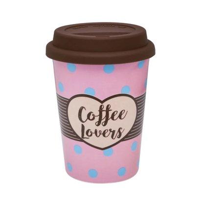 Copo Trip 300ml Coffe Lovers - Copo em Cerâmica e Tampa de Silicone