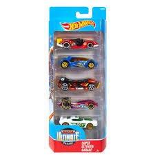 Embalagem com 5 carros Hot-Wheels