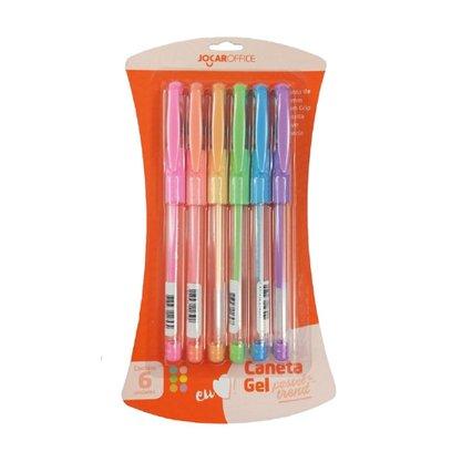 Kit com 6 cores caneta esfero Gel Pastel Trend Blister