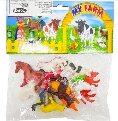 Kit de Animais da Fazenda com 12 peças
