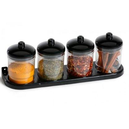Kit Porta Condimentos com 4 Potes e Base Fixável