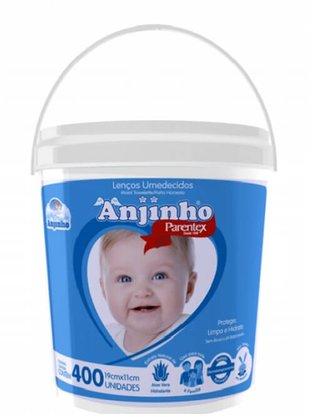 Lenco Umedecido Anjinho Balde com 400 Azul