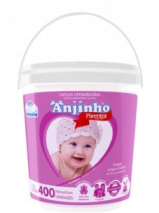 Lenco Umedecido Anjinho Balde com 400 Rosa