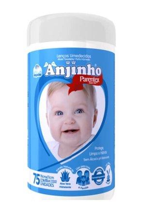 Lenco Umedecido Anjinho Pote com 75 unidades Azul