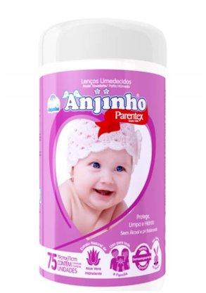 Lenco Umedecido Anjinho Pote com 75 unidades Rosa