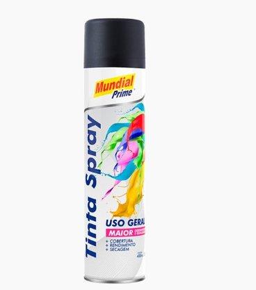 Tinta Spray Mundial Prime 400ml Preto Fosco