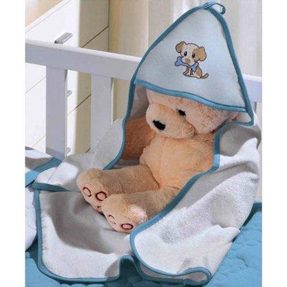 Toalha de Banho com Capuz Baby Azul tamanho 0,65cm x 0,80cm