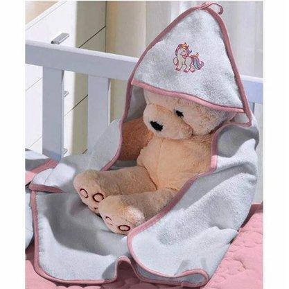 Toalha de Banho com Capuz Baby Rosa tamanho 0,65cm x 0,80cm
