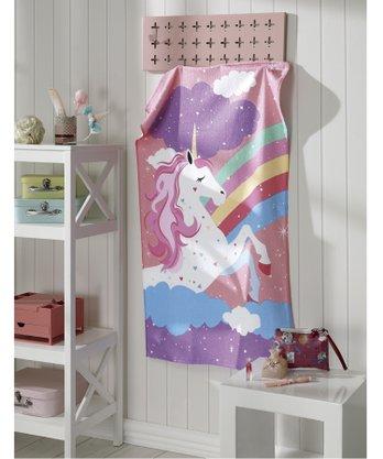 Toalha de Banho Felpudo Unicornio Tamanho 70cm X 115cm