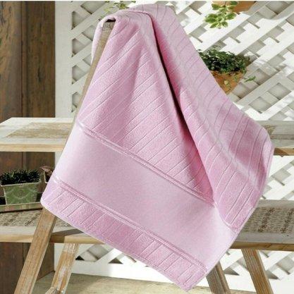 Toalha de Rosto Velour Bella Liso Para Bordar 50cm x 80cm Rosa