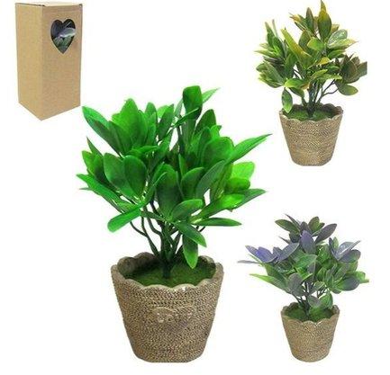 Vaso de Cimento com Planta Artificial
