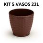 Kit: 5x Vasos Rattan 22 Litros Coffee